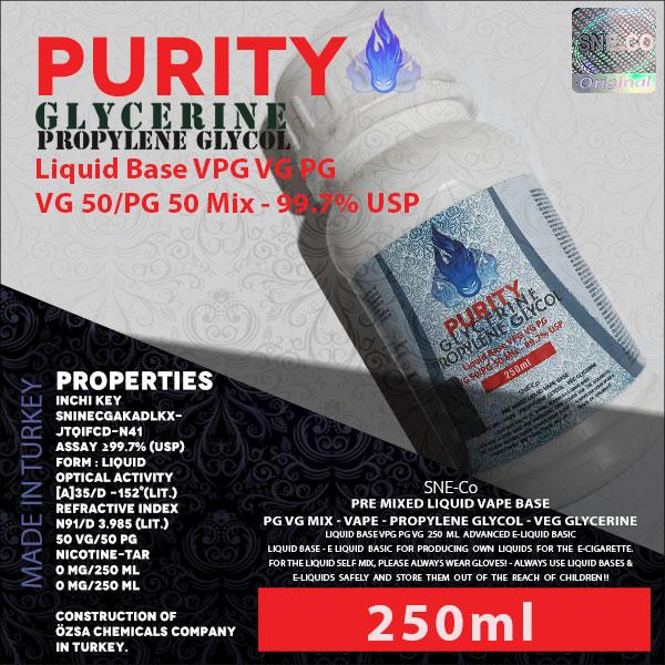 محلول بیس VG PG (VPG) 50-50 250ml پیوریتی