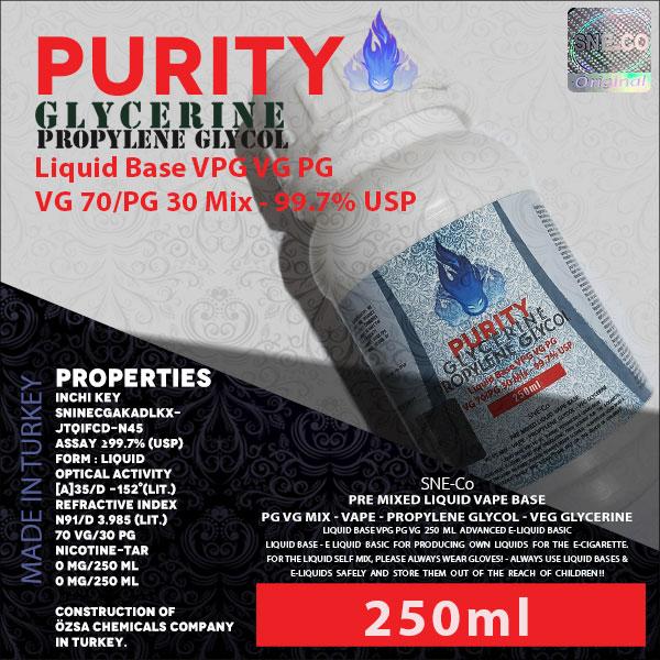 محلول بیس VG PG (VPG) 70-30 250ml پیوریتی